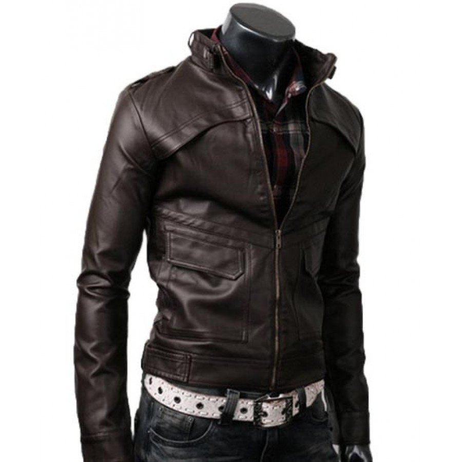 Dark Slim Brown Leather Jacket | Strap Jacket for men