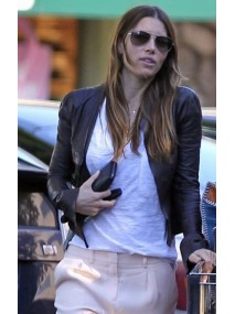 Street Style Jessica Biel Black Leather Jacket