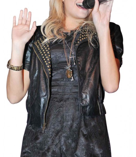 Singer Pixie Lott Studded Black Leather Jacket