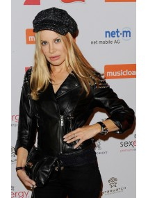 Film Actress Xenia Seeberg Studded Black Leather Jacket