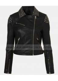 Demi Lovato Studded Faux Leather Biker Jacket