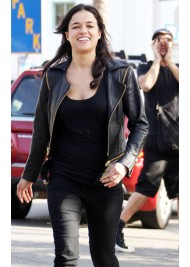 Michelle Rodriguez Studded Black Leather Jacket