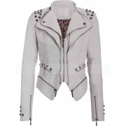 Studded Punk Womens White Faux Leather Moto Jacket