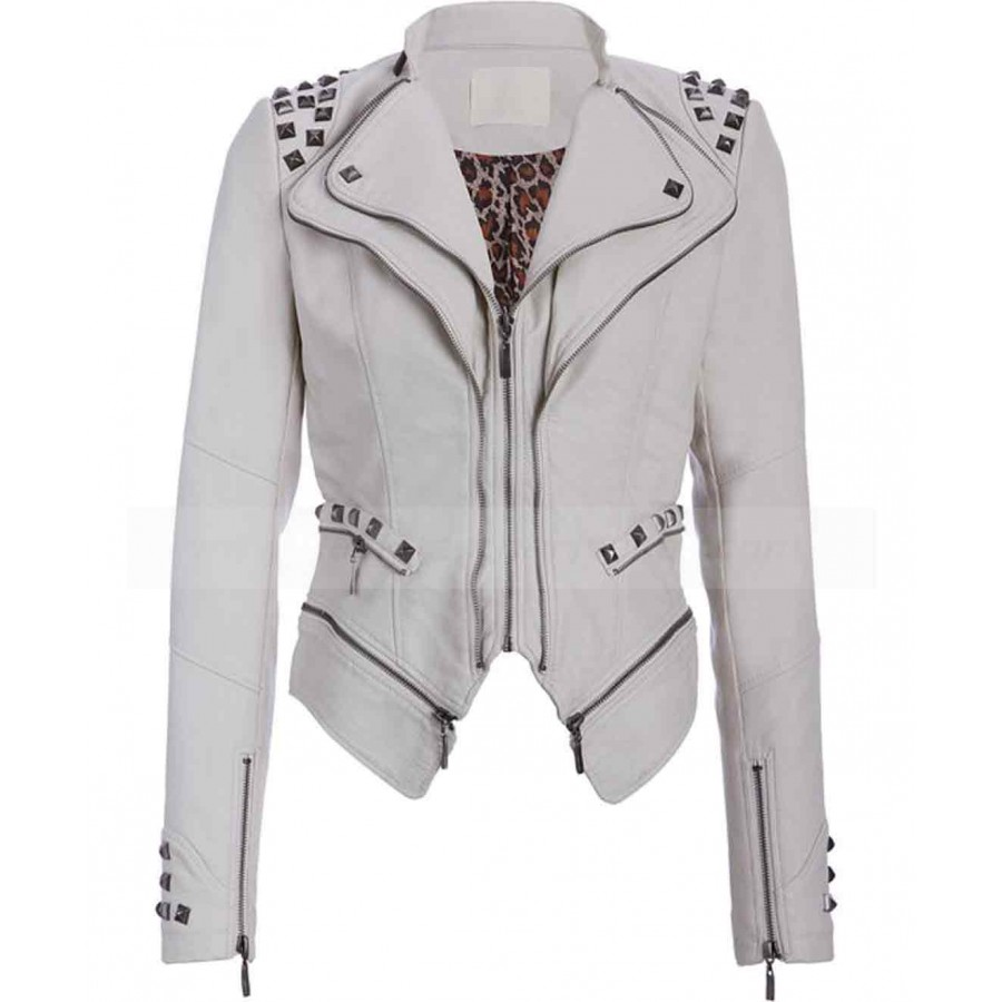 497f29a3f435 Studded Punk Womens White Faux Leather Moto Jacket · zoom · Studded ...