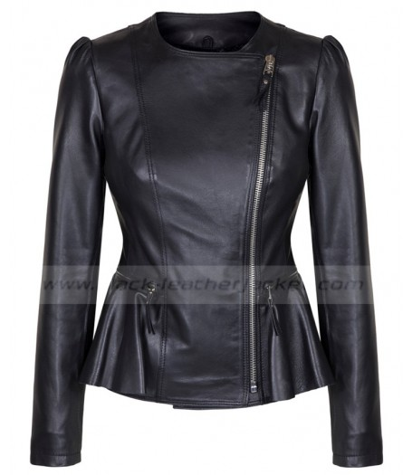 Asymmetrical Style Ladies Black Leather Jacket