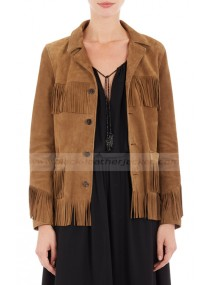 Kate Moss Stylish Fringe Brown Suede Leather Jacket