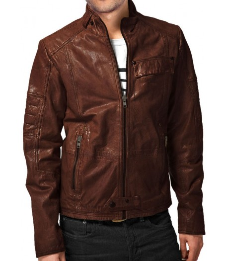 Stylish Look Mens Designer Brown Leather Jacket