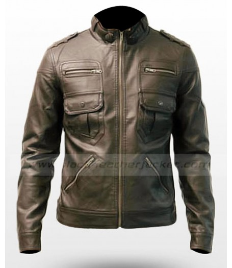 Stylish Luxury Brown Mens Slim Fitted Leather Jacket