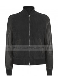 Justin Bieber Suede Black Leather Bomber Jacket