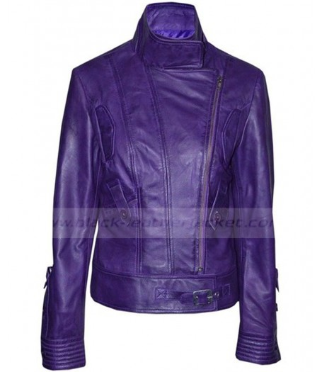 Supermodel Womens Purple Leather Motorcycle Jacket