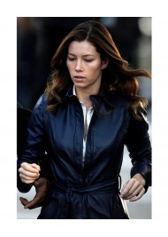 The A Team Jessica Biel Leather Trench Coat