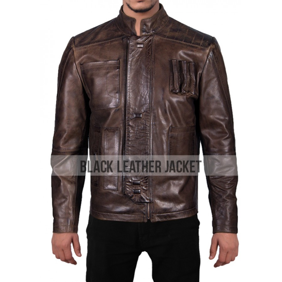 Leather jacket sale - Star Wars The Force Awakens Han Solo Brown Leather Jacket