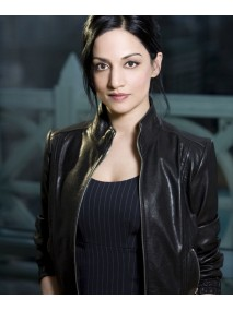 Archie Panjabi The Good Wife Kalinda Sharma Black Leather Jacket