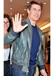Promoting Oblivion Movie Tom Cruise Green Leather Jacket in Japan