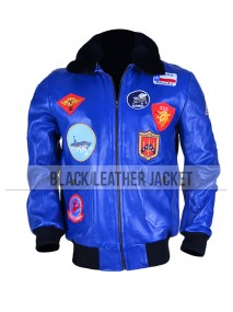 Tom Cruise Top Gun Blue Leather Bomber Jacket for Mens