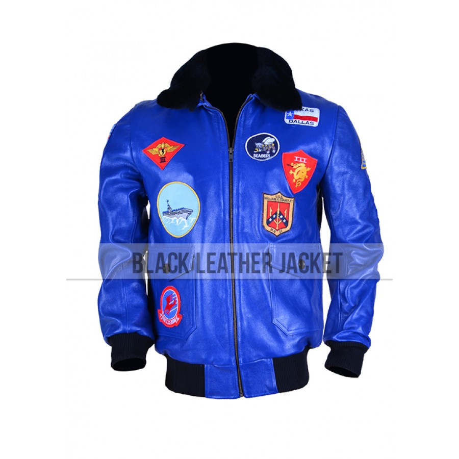 Blue Bomber Jacket for Mens | Tom Cruise Top Gun Leather Jacket