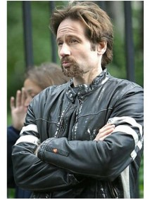 Tom Warshaw David Duchovny House D Stripes Leather Jacket