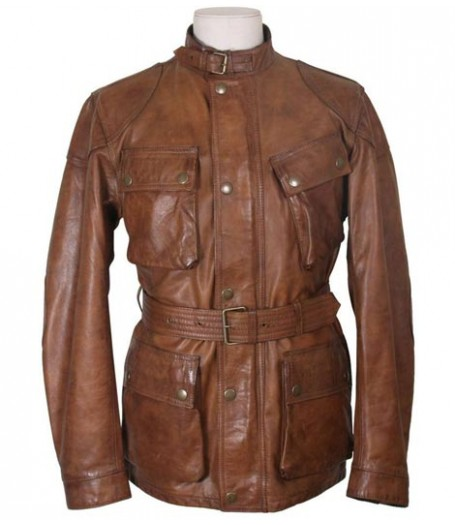 Triumph Motorcycle Belted Womens Brown Leather Biker Jacket