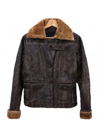 Ugg Alpine Womens Shearling Distressed Leather Bomber Jacket