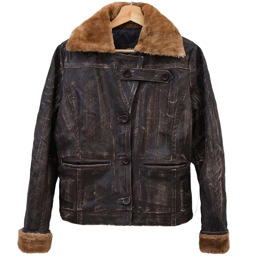 9053a1e9 Ugg Alpine Womens Shearling Distressed Leather Bomber Jacket