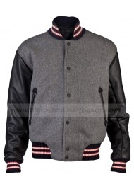 Andrew Garfield Leather Sleeves varsity Jacket