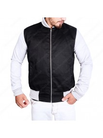 Mens White Sleeves Black Varsity Jacket