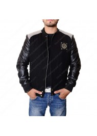 Manchester United Logo Black Varsity Jacket