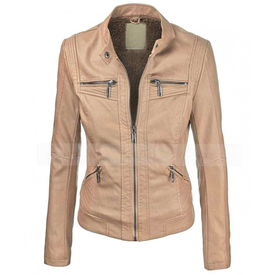 Biker Vegan Leather Jacket | Brown Faux Leather Jacket Women