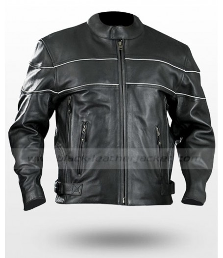 Vented Naked Bike Riding Cruiser Leather Jacket