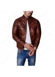 Men's Cafe Racer Vintage Leather Motorcycle Jacket