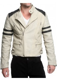 Distressed Vintage Leather White Motorcycle Riding Jacket