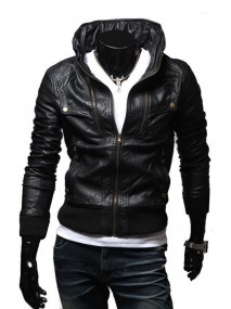 Mens Vintage Slim Fit Black Leather Biker Jacket