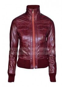 Ladies Washed Maroon Leather Biker Bomber Jacket