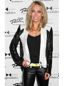 Kym Johnson White and Black Leather Jacket