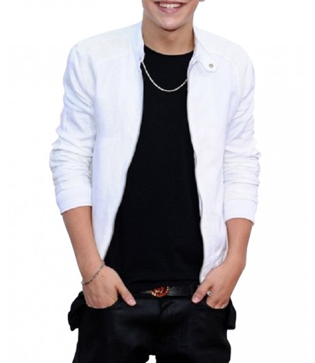 Austin Mahone White Leather Jacket