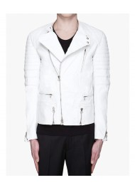 Asap Rocky White Leather Quilted Biker Jacket