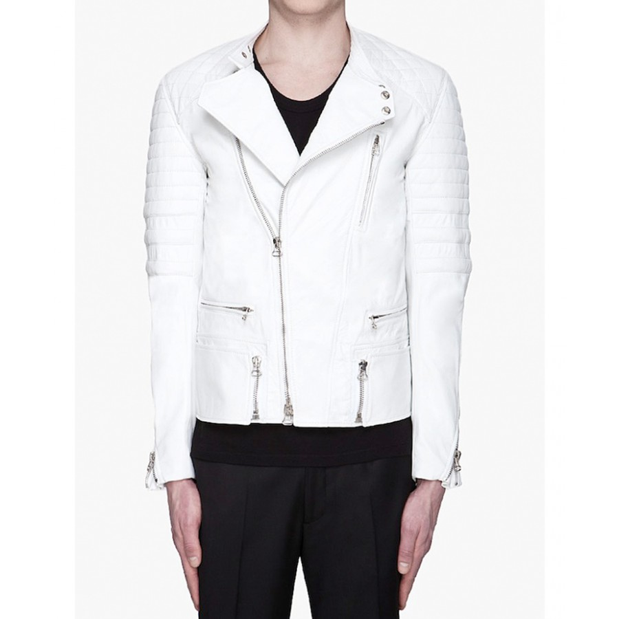 Asap Rocky Jacket | Mens White Leather Quilted Biker Jacket : white quilted leather jacket - Adamdwight.com