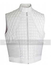 Justin Bieber White Quilted Leather Vest