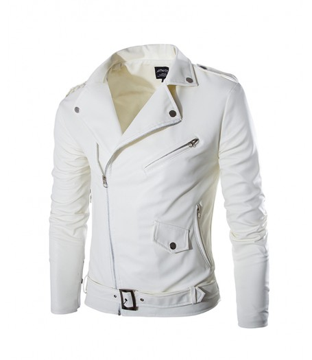 Slim Fit White Faux Leather Motorcycle Jacket Men