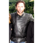 Hugh Jackman Wolverine X-Men Motorcycle Black Leather Jacket