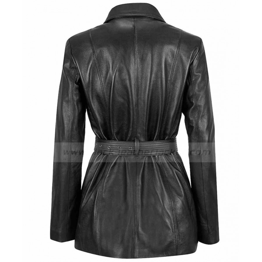 Ladies Black Leather Jacket | Women Belted Zip Coat