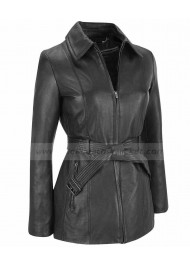 Women Belted Zip Black Leather Jacket Coat