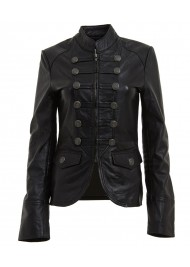 Womens Military Style Black Leather Blazer Jacket