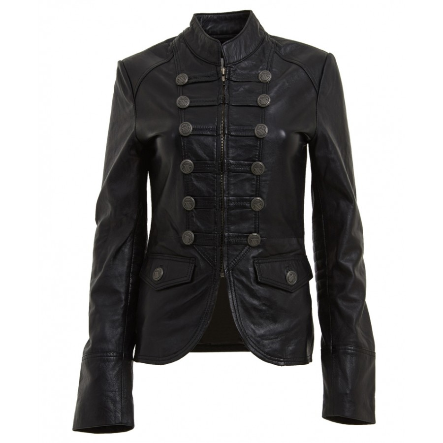 Military Style Blazer | Womens Black Leather Jacket