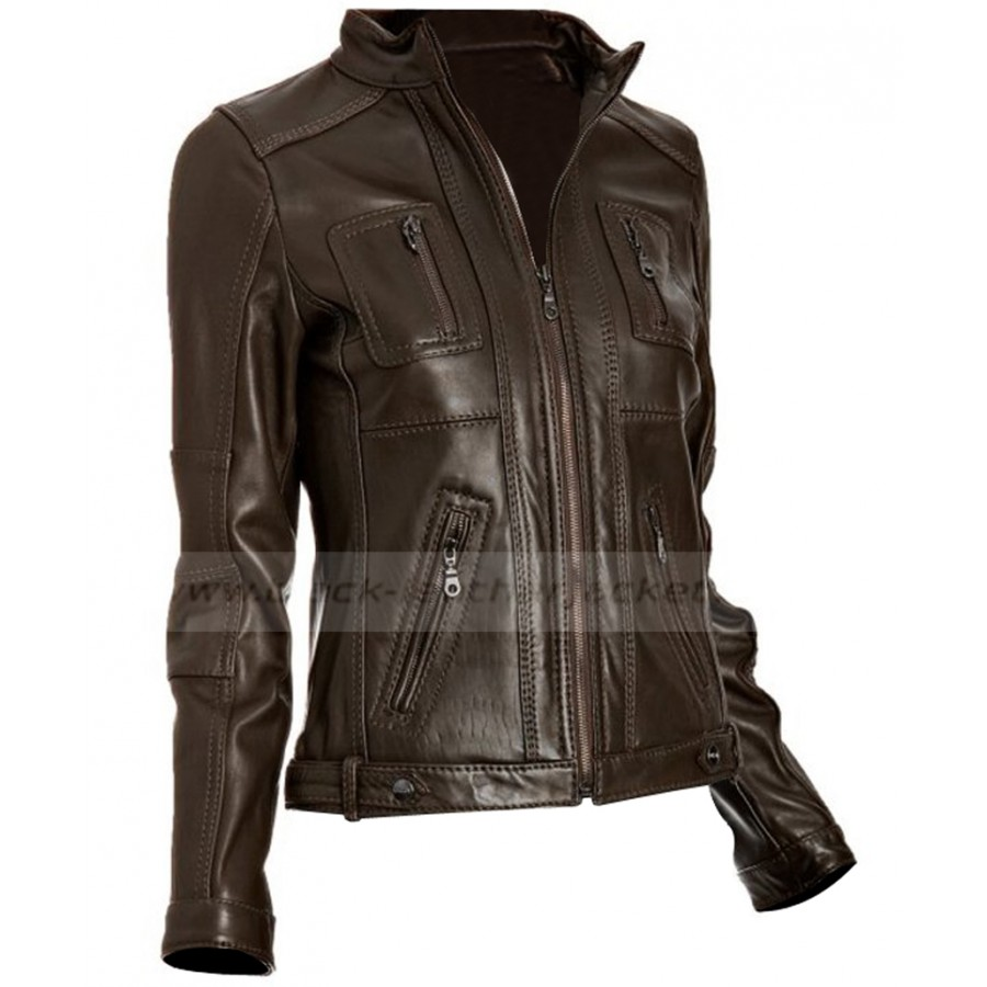 dd8dcc23c Four Pocket Womens Casual Jacket   Slim Fit Brown Leather Jacket