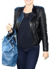 Kate Upton Black Quilted Leather Jacket