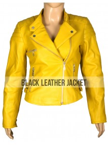 Womens Asymmetric Yellow Leather Motorcycle Quilted Jacket
