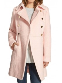 Baby Pink Double Breasted Coat for Women