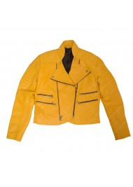 Womens Yellow Quilted Leather Biker Jacket