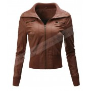 Womens Biker Faux Leather Brown Jacket